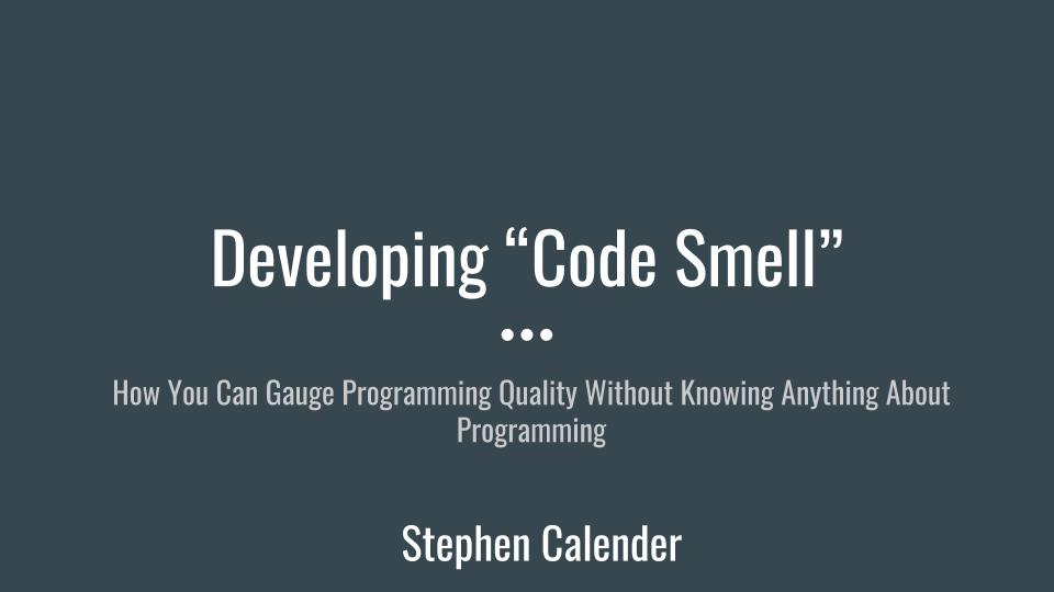 DevelopingCodeSmellSlide1